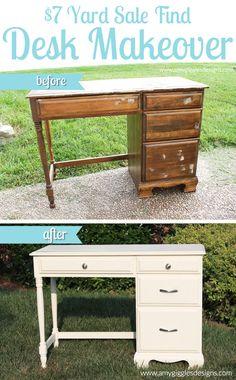 7 Dollar Yard Sale Find Desk Makeover www. Repainted Desk, Refurbished Vanity, Refurbished Furniture, Repurposed Furniture, Painted Furniture, Furniture Projects, Furniture Making, Diy Furniture, Desk Makeover