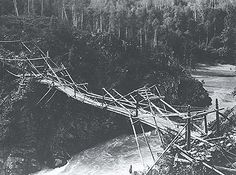 A Native-built suspension bridge at Hagwilget, near Hazelton, ca. 1924.