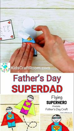 """FLYING SUPERHERO FATHER'S DAY CRAFT. Kids and Dads will love this printable superhero craft that really flies! Turn Daddy into """"Super Dad"""" with this fun and interactive Father's Day gift idea. #fathersday #fathersdaycrafts #fathersdaycraft #printables #printablecrafts #superhero #kidscrafts #craftsforkids #kidsactivities #kidscraftroom #preschoolcrafts Fathers Day Crafts Preschool, Diy Father's Day Crafts, Fathers Day Art, Dad Crafts, Easy Fathers Day Craft, Father's Day Diy, Fathers Day Gifts, Crafts For Kids, Craft Kids"""