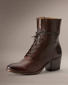 The Courtney Lace Up ankle boot by Frye is inspired by Victorian styles and crafted by top grain chocolate colored leather Leather Lace Up Boots, Lace Up Ankle Boots, Leather Booties, Trendy Shoes, Cute Shoes, Frye Boots, Bootie Boots, Women's Boots, Oxford Boots