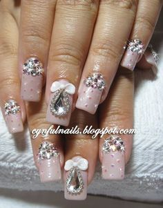 50 Inspiring Nail Projects For Girls girly cute nails beautiful nail pretty nail art diy nails nail ideas girl nails nail projects Fabulous Nails, Gorgeous Nails, Pretty Nails, Nail Art Designs, Simple Nail Designs, Pretty Designs, Rhinestone Nails, Bling Nails, Bling Bling