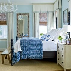 Love the blue bedspread (from  10 Beautiful Beach Cottages | Soothing Blue Bedroom | CoastalLiving.com)