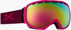 Pink ski googles with mirrored lenses