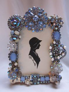 Vintage Repurposed Rhinestone Jewelry Embellished Picture Frame