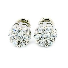 8mm Wide Cluster Earrings Screw Back Sterling Round CZ 4cttww Size, Women's