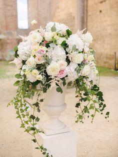 pink and ivory floral arrangement Wedding Altars, Wedding Aisle Decorations, Wedding Ceremony Flowers, Floral Wedding, Wedding Bouquets, White Floral Centerpieces, Flower Centerpieces, Flower Decorations, Wedding Centerpieces