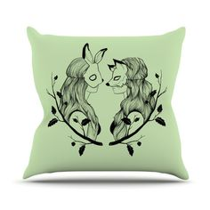 "East Urban Home Foxybuns Jaidyn Erickson Throw Pillow Size: 16"" H x 16"" W x 4"" D"