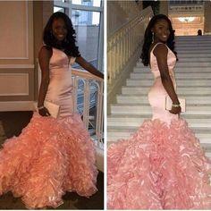 2017 Mermaid V-neck Pink Ruffles Glamorous Sleeveless Prom Dress_High Quality Wedding Dresses, Prom Dresses, Evening Dresses, Bridesmaid Dresses, Homecoming Dress - 27DRESS.COM