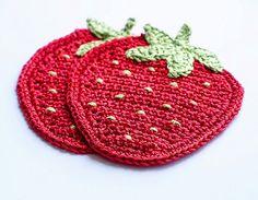 Colourful Handmade Crochet Coaster Set. Strawberry by CatANeedle