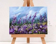 Purple Flowers in the Field. 3x4 inch original oil painting, includes easel, gift item, impasto art