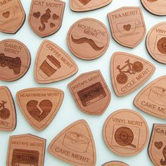 Indie Merit Badges | hand over your fairy cakes  Merit badges are no longer just for the enthusiastic Girl Guide or intrepid Scout; Indie Merit Badges are for those with super skills like making a great cake, growing some awesome facial hair or even just drinking a lot of coffee. Each badge is laser cut in lovely dark walnut wood and comes with it's own Checklist of Requirements that the recipient should complete to earn their badge of honour.