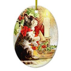 Vintage Christmas Ornament Cat and Candle