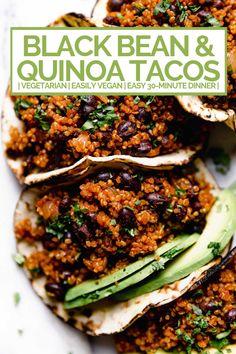 Quinoa & Black Bean Tacos (with Cilantro Lime Crema!) quinoa & black bean tacos (with cilantro lime crema!) - meet your new favorite vegetarian quinoa & black bean tacos recipe! vegetarian (vegan-friendly), 30 minutes, and made with pantry staples! Veggie Recipes, Whole Food Recipes, Vegetarian Recipes, Dinner Recipes, Healthy Recipes, Vegan Black Bean Recipes, Vegan Quinoa Recipes, Black Bean Tacos, Black Bean Quinoa