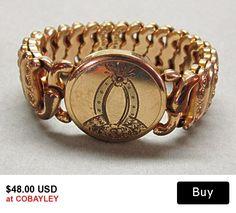 Gold Filled Expansion Bracelet  Pittman Keeler American Queen Art Deco Design