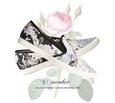 anthropologie all black bold flower sneaker