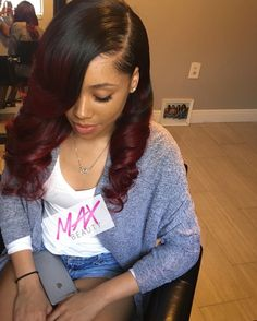 Ombre Human Hair Extensions 3 Bundles Babe Best Black To Burgundy Body Wave Brazilian Remy Hair Weft Size 16 18 20 Sew In Curls Hair Styles Long Hair Styles