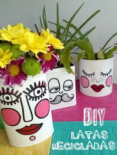 26 trendy plants painting tin cans Painted Plant Pots, Painted Flower Pots, Diy And Crafts, Crafts For Kids, Flower Pot People, Diys, Pot A Crayon, Decoration Bedroom, Plant Painting