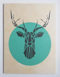 Large Deer Head on Plywood, Handmade Stencil Art, Geometric, Origami Deer, Original Art