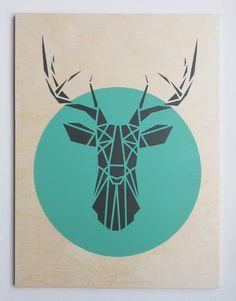 Large Deer Head. Plywood. Handmade. Stencil Art. Geometric. Origami Deer. Original Art on Etsy, $84.77 CAD