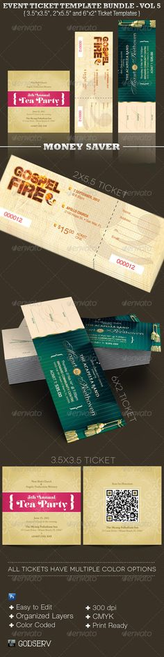 Vintage Event Ticket Template PSD Ticket Templates Pinterest - event tickets template