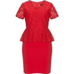 Manon Baptiste Red Plus Size Lace peplum dress ($120) ❤ liked on Polyvore featuring dresses, plus size, red, knee length dresses, red v neck dress, plus size dresses, red knee length dress and lace peplum dress