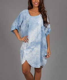 Loving this Blue Gabriella Linen Shift Dress on #zulily! #zulilyfind   WOW ,  This dress looks so comfy, you could let it all hang out,