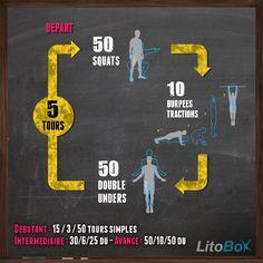 Séance de CrossFit au poids du corps : squats, burpees tractions et corde à sauter