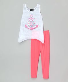 Love this White Sequin Anchor Sidetail Tank & Neon Pink Leggings on #zulily! #zulilyfinds