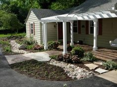 Home Design and Decor , Porch Ranch Home Style : Ranch Home Style Front Porch White Pergola