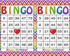 Printable Birthday Bingo Game - Add some fun to your Birthday Party with this Printable Birthday Bingo Game for up to 30 players. Free Bingo Cards, Printable Cards, Printables, Common Core Education, Mustache Birthday, Bingo Template, Elderly Activities, Birthday Party Games, Rainbow Birthday