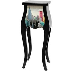 Oriental Furniture Colorful New York City Plant Stand in Black Lacquer