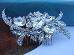 Vintage Style Wedding Flower Drop Hair Comb Bride by linabridal, $18.00