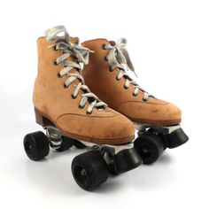 Roller Skates Vintage 1970s Brown leather by purevintageclothing