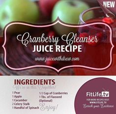 The Cranberry Cleanser Did you know? Cranberries helps to avoid painful urinary tract infection, reduces dental plaque, helps prevent the development of kidney stones, helps deter cancer, is very effective in preventing yeast infection and a lot more! Juice Smoothie, Smoothie Drinks, Detox Drinks, Smoothie Recipes, Drink Recipes, Yogurt Smoothies, Raw Recipes, Yummy Smoothies, Green Smoothies