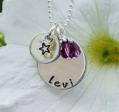 Engraved Childs Name Necklace for Mom  Hand by AddieRoseJewelry, $42.00