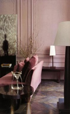 Elegant and Soothing...        Dusty Rose Pink                 The Milan apartment of Romeo Sozzi - the head designer of Promemoria furni...