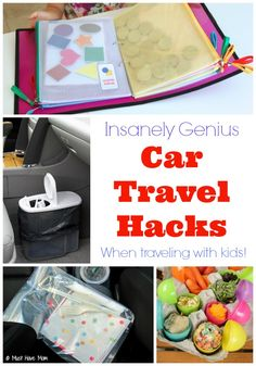 Insanely Genius Car Travel Hacks when traveling with kids. Love the car garbage can idea and the kids activity book for long car rides!