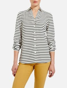 Striped Split-V Blouse