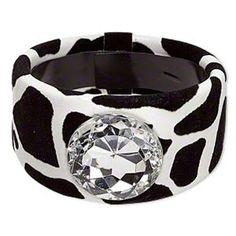 Black & White Velvet Animal Print Rhinestone Chunky Retro Wide Bangle Bracelet #CascadeJewelry