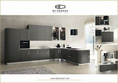 Lustrous grey kitchen cabinetry combined with a sleek interior design was created for the elegant minimalist. Sold @bydarash