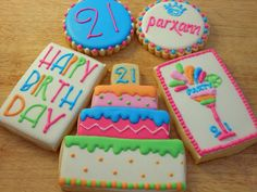 21st birthday cookies.  Designs from HaleyCakes with permission by BarefootNBaking, via Flickr