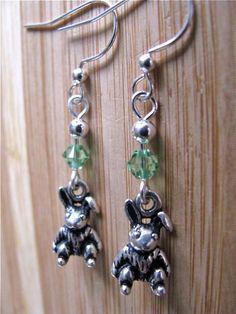 Silver Easter Bunny and Swarovski Crystal Earrings by joyaslindas3, $18.00