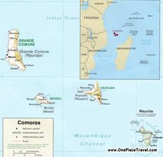 Map showing the location of the Comoros Island off the coast of Africa.