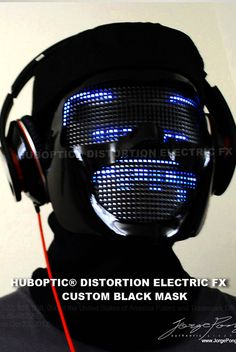 Electric Glow Mask for Light Up Mask Dj costume co2 by HUBOPTIC