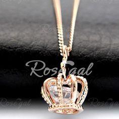 Stylish Zircon Crown Pendant Necklace For Women Necklaces   RoseGal.com Mobile