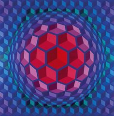 I'm rediscovering Op Art. I grew up loving these works and imitating them in my own drawings in my Trapper Keeper. Here is Victor Vasarely - Cheyt pyr Victor Vasarely, Illusion Kunst, Illusion Art, Optical Illusion Quilts, Optical Illusions, Geometry Art, Sacred Geometry, Grafik Art, 3d Quilts