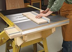 the guesswork out of making square cuts on large panels with this must-have table saw add-on.Take the guesswork out of making square cuts on large panels with this must-have table saw add-on. Used Woodworking Tools, Woodworking Joints, Woodworking Workshop, Woodworking Techniques, Woodworking Furniture, Woodworking Projects, Woodworking Plans, Wood Projects, Woodworking Videos