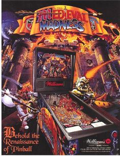 Williams MEDIEVAL MADNESS 1997 Original NOS Flipper Pinball Machine Promo Flyer #MedievalMadness #WilliamsPinball  #Pinball #PinballFlyer @PinballMachineFlyers