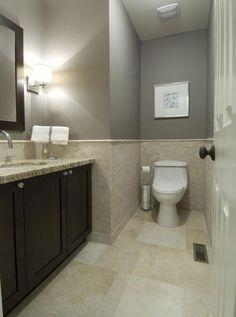 granite counter grey walls small tile in bathroom