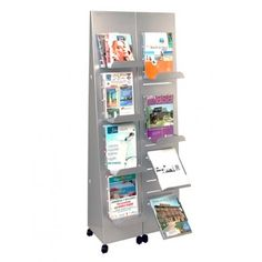 Moveable slotted display stand, for magazines and catalogues - SISTEMASDAVID